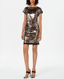 Vince Camuto Cap-Sleeve Animal-Print Dress