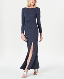 Vince Camuto Long-Sleeve Knotted Gown
