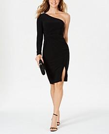 One-Shoulder Knot-Waist Dress