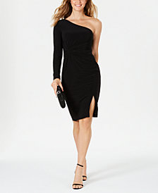 Vince Camuto One-Shoulder Knot-Waist Dress