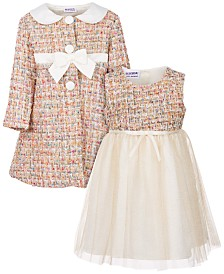 Blueberi Boulevard Toddler Girls 2-Pc. Tweed Coat and Dress Set