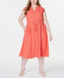 Pius Size Printed Drawstring-Waist Dress