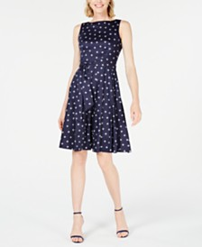 Anne Klein Wavy-Dot Printed A-Line Dress