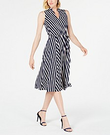 Bias-Stripe A-Line Dress