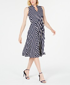Anne Klein Bias-Stripe A-Line Dress