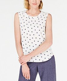 Wavy-Dot Printed Sleeveless Blouse