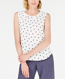 Anne Klein Wavy-Dot Printed Sleeveless Blouse