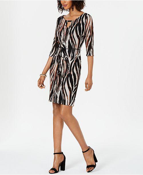 Connected Embellished Keyhole Sheath Dress