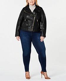 Plus Size Asymmetrical Leather Moto Jacket