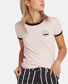 Volcom Juniors' Graphic-Print Ringer T-Shirt