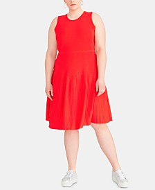 RACHEL Rachel Roy Trendy Plus Size Liliana Fit & Flare Sweater Dress