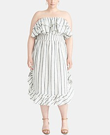 Trendy Plus Size Striped Strapless Dress