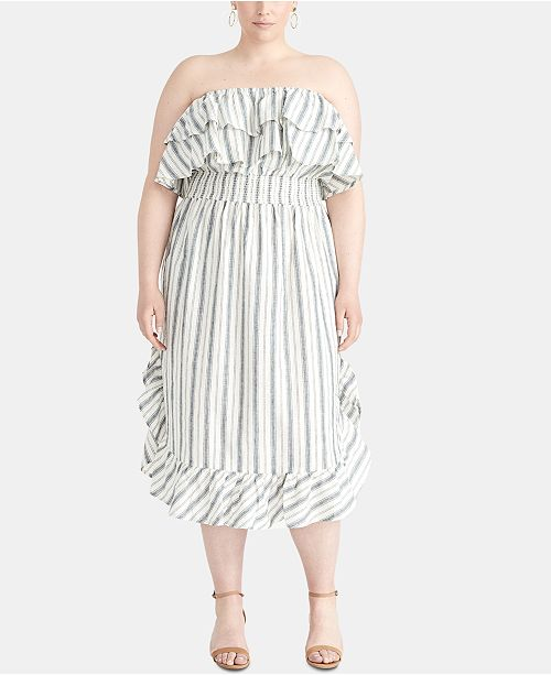 RACHEL Rachel Roy Trendy Plus Size Striped Strapless Dress