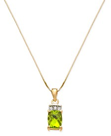 "Peridot (1-5/8 ct. t.w.) & Diamond Accent 18"" Pendant Necklace in 14k Gold"