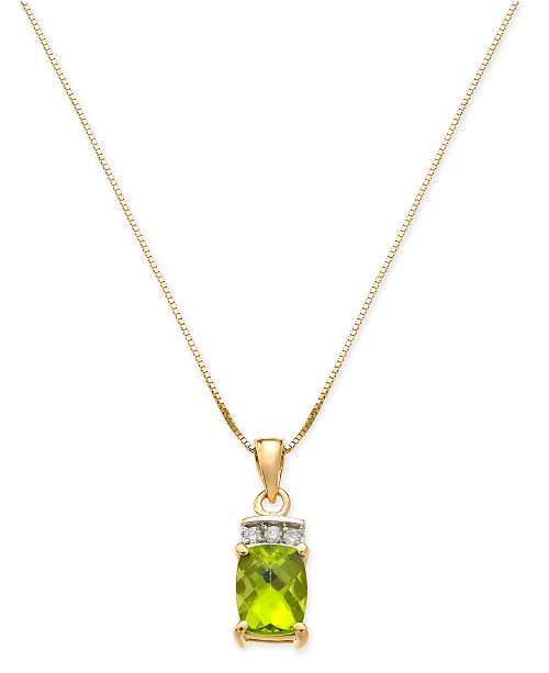 "Macy's Peridot (1-5/8 ct. t.w.) & Diamond Accent 18"" Pendant Necklace in 14k Gold"