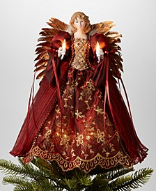 "14""H Angel Christmas Tree Topper with LED Lights in Burgundy Dress, Created for Macy's"