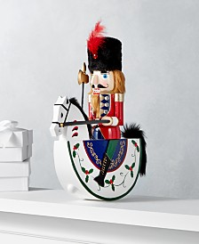 """Holiday Lane Christmas Cheer 13"""" Red & Green Rocking Horse Nutcracker, Created for Macy's"""