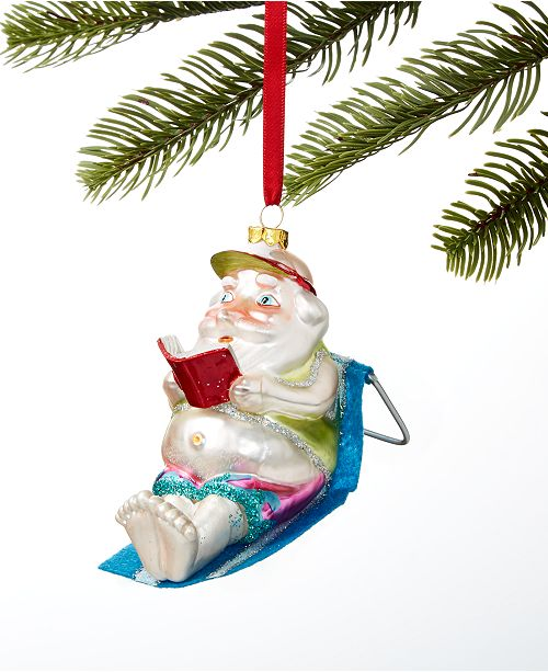 Holiday Lane At the Beach Santa Sun Tanning Ornament, Created for Macy's