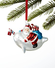 Holiday Lane At the Beach Santa Riding a Narwhal Ornament, Created for Macy's