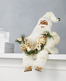 African American Sitting Santa in Ivory with Christmas Garland, Created for Macy's