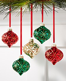 Christmas Cheer Glass Onion-Shaped Decorative Pattern Ornaments, Set of 5, Created for Macy's