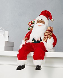 African American Sitting Santa in Red with Gift Bag and Wreath, Created for Macy's
