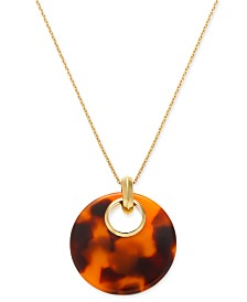 "kate spade new york Gold-Tone Tortoise-Look 17"" Pendant Necklace"