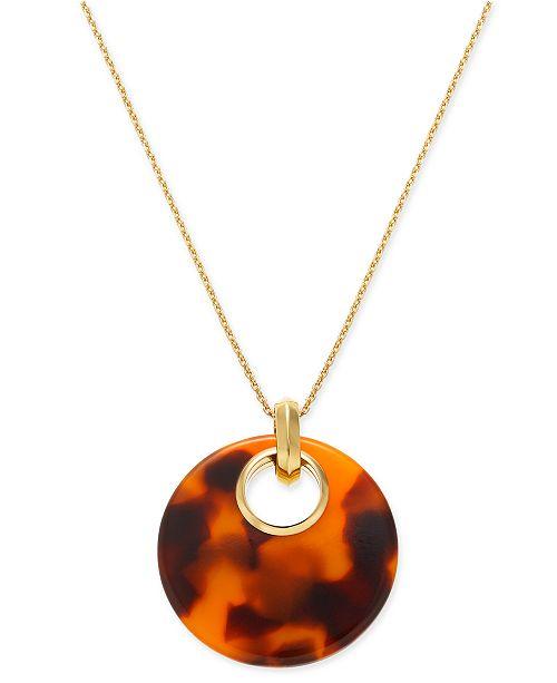 Kate Spade New York Gold Tone Tortoise Look 17 Pendant Necklace