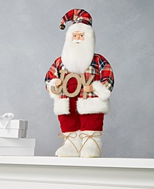 Plaid Red Santa with Joy Sign, Created for Macy's