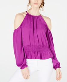 Thalia Sodi Smocked Cold-Shoulder Top, Created for Macy's