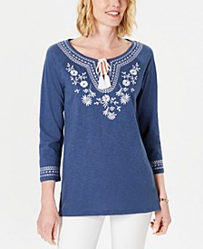 Cotton Embroidered Tunic, Created For Macy's