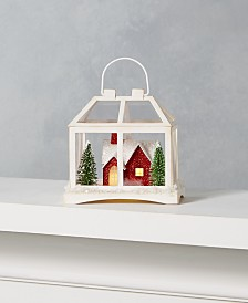 Martha Stewart Collection Farmhouse Holidays Paper Ornament with Red House & LED Light, Created for Macy's