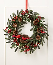 Farmhouse Holidays Red Cardinal Artificial Wreath, Created for Macy's