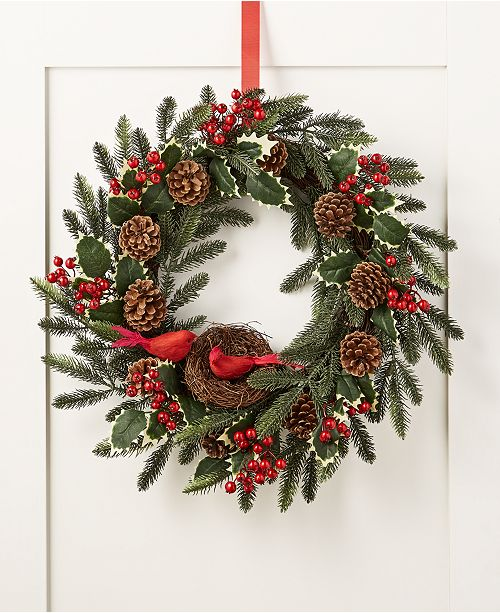 Martha Stewart Collection Farmhouse Holidays Red Cardinal Artificial Wreath, Created for Macy's