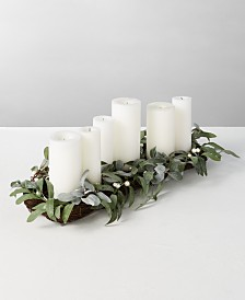 Martha Stewart Collection Silver Woods Artificial Mistletoe Candle Holder Centerpiece, Created for Macy's