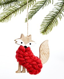 Holiday Lane Upstate Red Sweater Fox Ornament, Created for Macy's