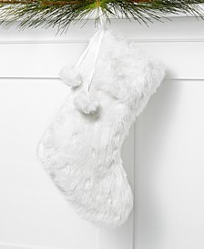 White Faux Fur Stocking, Created for Macy's
