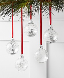"The Holiday Collection Set of 5 Glass ""Let it Snow"" Ornaments, Created for Macy's"