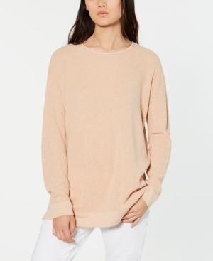Eileen Fisher Organic Cotton Waffle-Knit Sweater In Dune