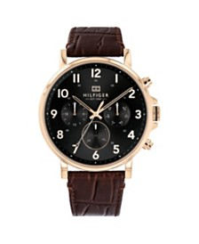Tommy Hilfiger Mens Brown Leather Watch 44mm, Created for Macys
