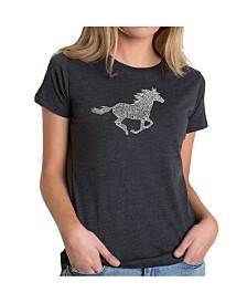 Women's Premium Word Art T-Shirt - Horse Breeds