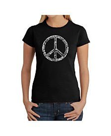 Women's Word Art T-Shirt - The Word Peace in 77 Languages