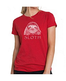 Women's Premium Word Art T-Shirt - Sloth