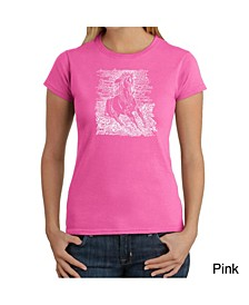 Women's Word Art T-Shirt - Popular Horse Breeds