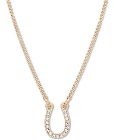 "Gold-Tone Crystal Horseshoe Pendant Necklace, 16"" + 3"" extender"