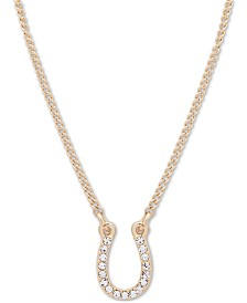"Lauren Ralph Lauren Gold-Tone Crystal Horseshoe Pendant Necklace, 16"" + 3"" extender"