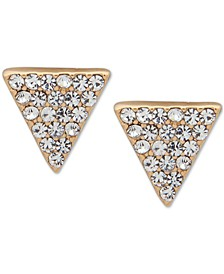 Gold-Tone Crystal Pavé Triangle Stud Earrings