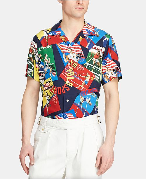 Polo Ralph Lauren Men's Custom Fit Chariots Rayon Camp Collar Shirt