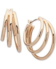 Lauren Ralph Lauren Gold-Tone Triple-Row Small Hoop Earrings