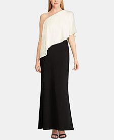 Lauren Ralph Lauren Colorblocked Crepe-Overlay Jersey Gown